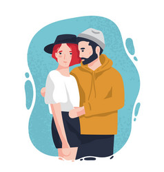 portrait adorable man and woman in trendy vector image