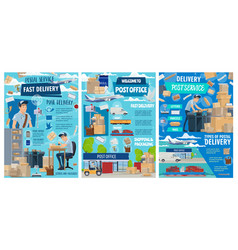 Postal delivery service post office shipping vector