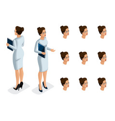 Quality isometry business lady in stylish dress vector