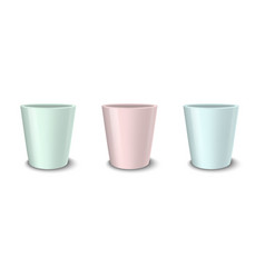 Realistic empty flower pot set pastel vector