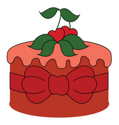red cake with cherry on white background vector image