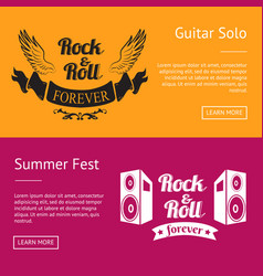 rock roll forever and summer fest set of banners vector image