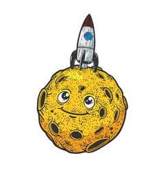 rocket on cartoon moon sketch vector image