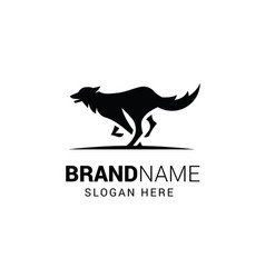 Running wolf logo template isolated on white vector