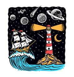 sail at night vector image