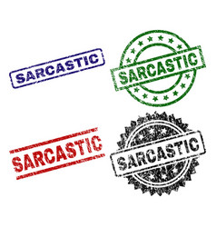 Scratched textured sarcastic seal stamps vector
