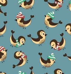seamless bird pattern vector image