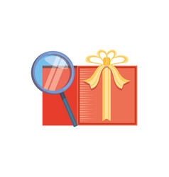 search magnifying glass with gift vector image