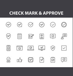 set 24 check mark web icons in line style vector image
