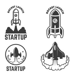 set emblems with rocket launch startup vector image