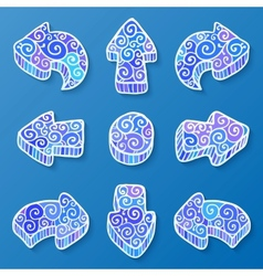 Set of blue and white doodle ornate arrows vector image