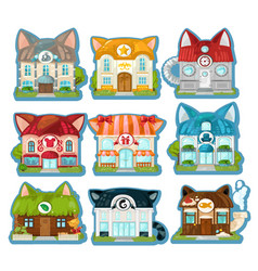 set of cute colorful houses in the style of cats vector image