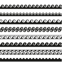 set of seamless wave borders design elements vector image