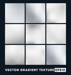 Set silver gradient texture pattern background vector