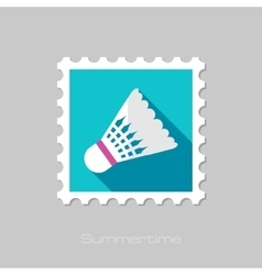 Shuttlecock for badminton sport flat stamp vector image