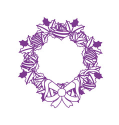 Silhouette christmas wreath garland with christmas vector