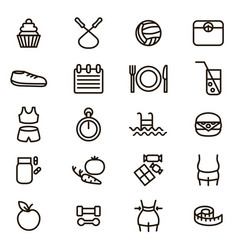 slimming signs black thin line icon set vector image