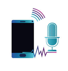 Smartphone with voice assistant icon vector