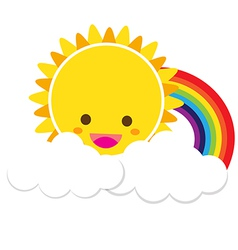 Sun Rainbow and Cloud 002 vector
