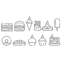 sweets and junk food line icon set vector image vector image
