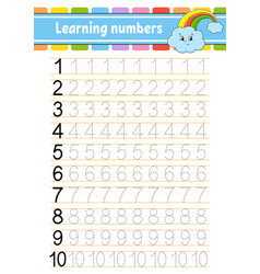 Trace and write numbers handwriting practice vector