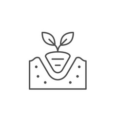 transplanting plant line outline icon vector image