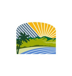 Tropical Trees Mountains Sea Coast Retro vector image