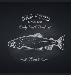 trout hand drawn icon vector image