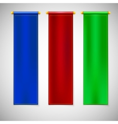 Vertical colored flags with emblems vector image
