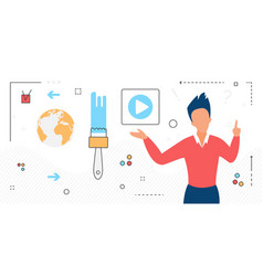 video movie content man character with online vector image