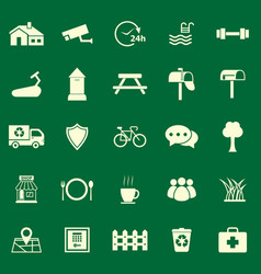 village color icons on green background vector image