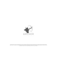 Vintage woman archer for archery sport club logo vector