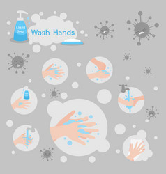 Wash hands with soap and liquid soap kill virus vector