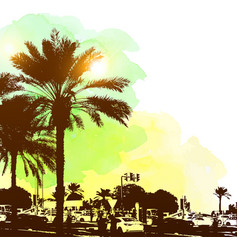 Watercolor background with buildings and palms vector