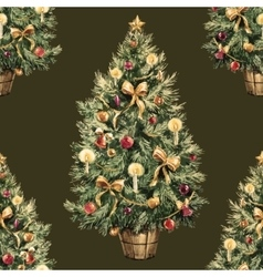Watercolor Christmas tree pattern vector image