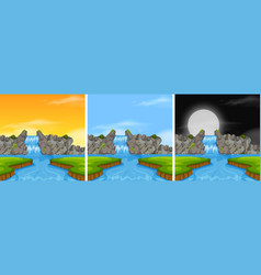 waterfall landscape in diffrent time vector image