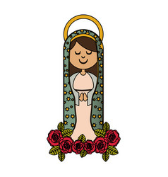 White background of colorful virgin of guadalupe vector