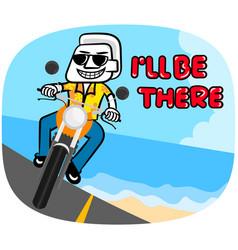 White man cartoon riding motorcycle vector
