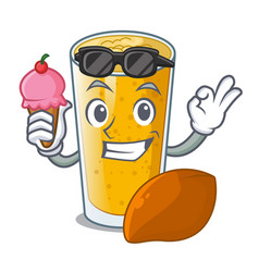 with ice cream lassi mango in a cartoon bottle vector image