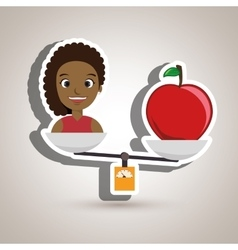 Woman cartoon fruit food balance vector