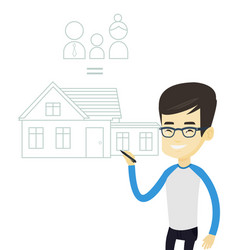 Young asian man drawing family house vector