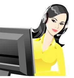young beautiful girl telephone operator vector image