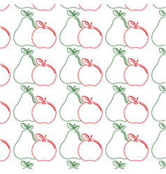 Delicious pear and apple healthy fruit background vector