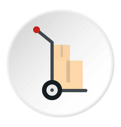 hand cart with two cardboard boxes icon circle vector image