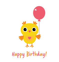happy birthday card with an owl vector image vector image