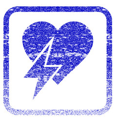 Heart shock framed textured icon vector