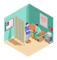 inspection at doctor isometric composition vector image vector image