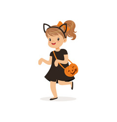 little girl dressed as a black cat cute kid in vector image