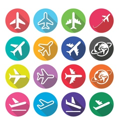 Plane flight airport - flat design icons vector image vector image