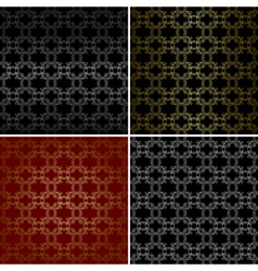 seamless patterns with curved golden elements vector image vector image